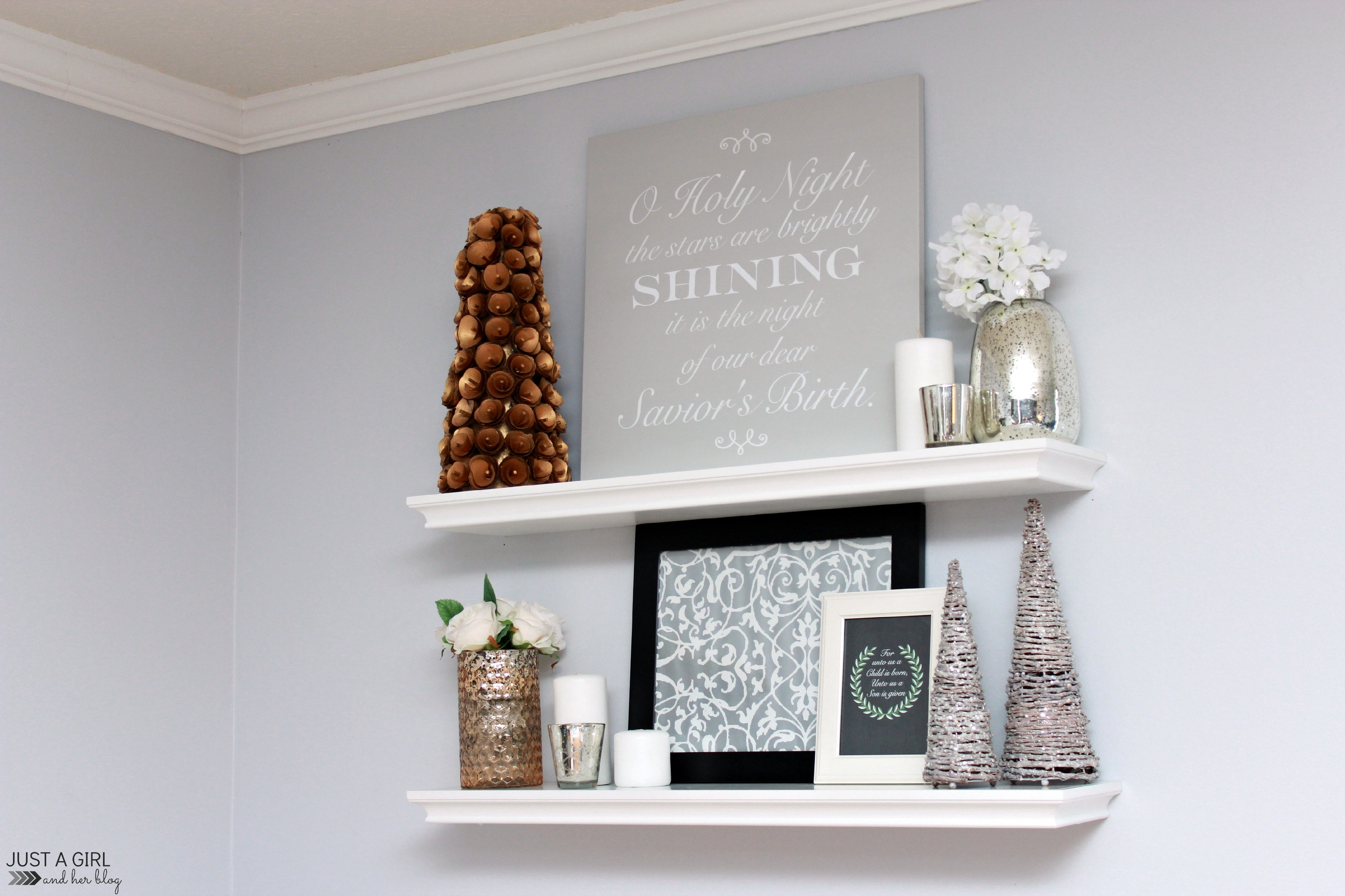 A DIY Sign And Christmas Shelf Decor