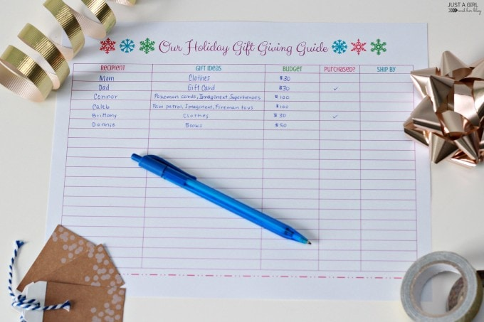 FREE Printable Christmas Holiday Gift Giving Guide| Just A Girl and Her Blog for Mom 4 Real