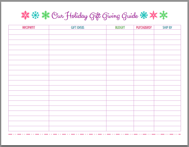 FREE Printable Christmas Holiday Gift Giving Guide | Just A Girl And Her  Blog For Mom  Free Printable Christmas Lists