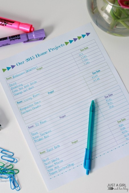 2015 Home Projects Printable   Just a Girl and Her Blog for Mom 4 Real