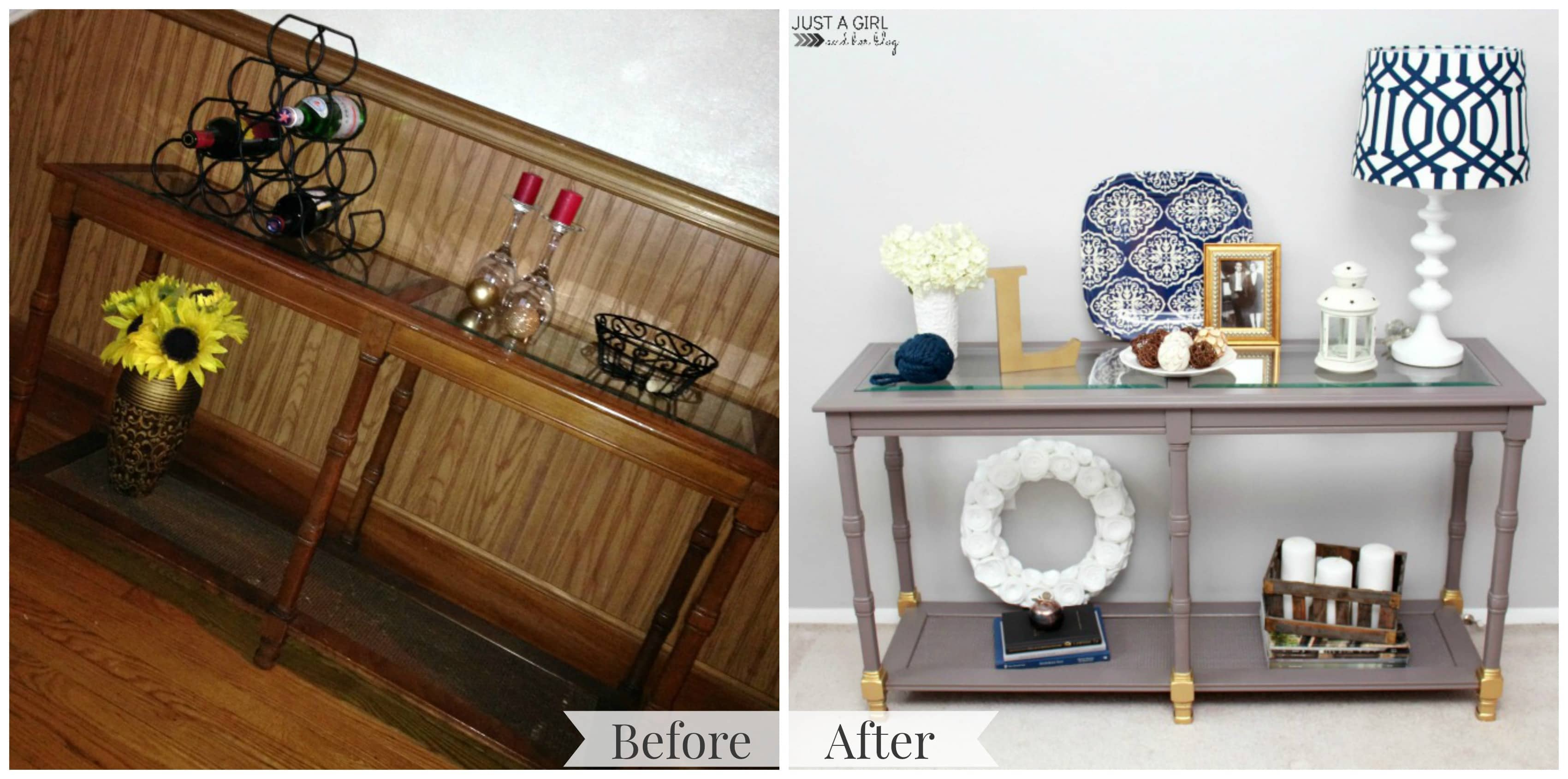 Shabby To Chic Console Table Makeover Painted In Behr Marquee Magnet And Gold