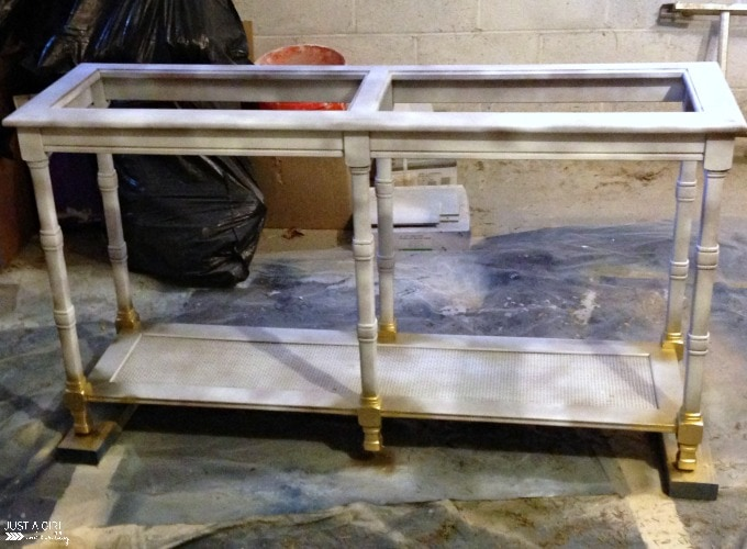 """Shabby to Chic Console Table Makeover, Painted in Behr Marquee """"Magnet"""" and Gold Accents