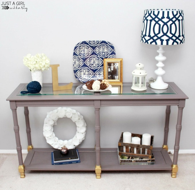 Shabby To Chic Console Table Makeover - Just A Girl And Her Blog