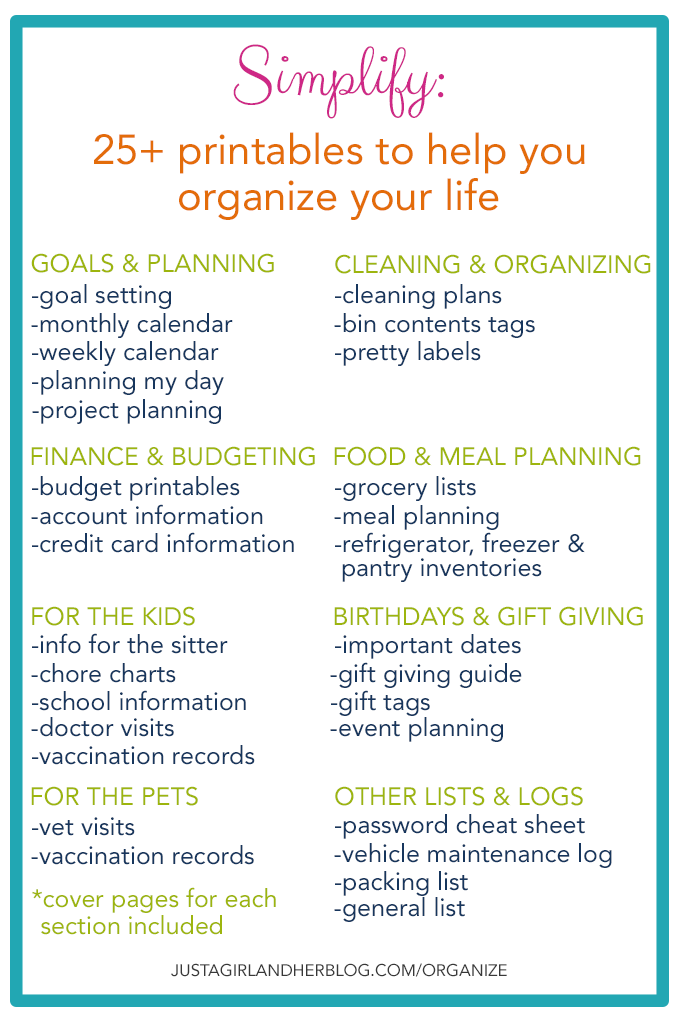 Simplify: 25 Printables to Help You Organize Your Life | JustAGirlAndHerBlog.com/organize