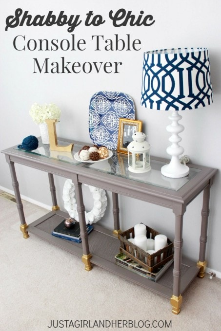 "Shabby to Chic Console Table Makeover, Painted in Behr Marquee ""Magnet"" and Gold Accents