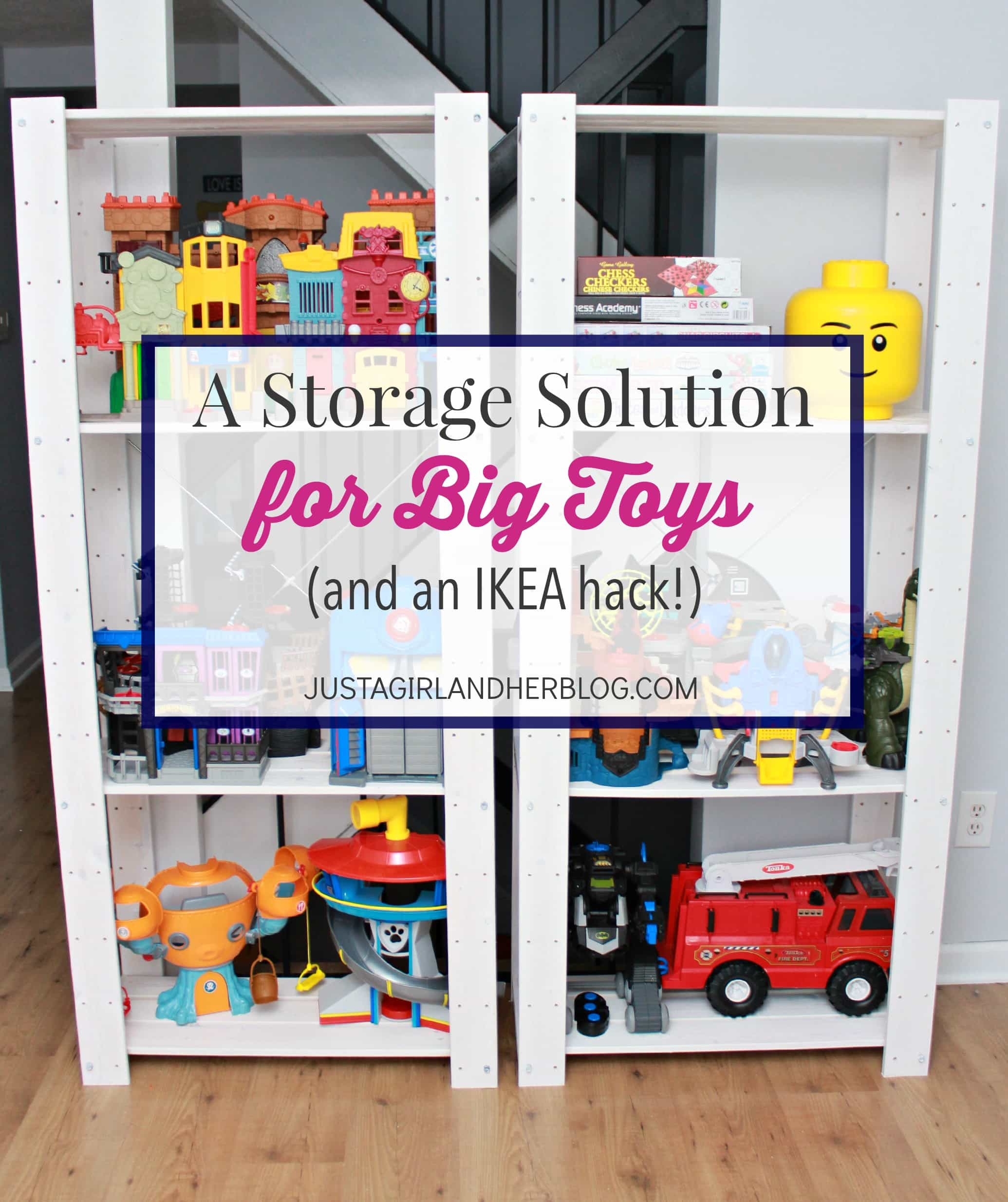 a storage solution for big toys and an ikea hack just a girl