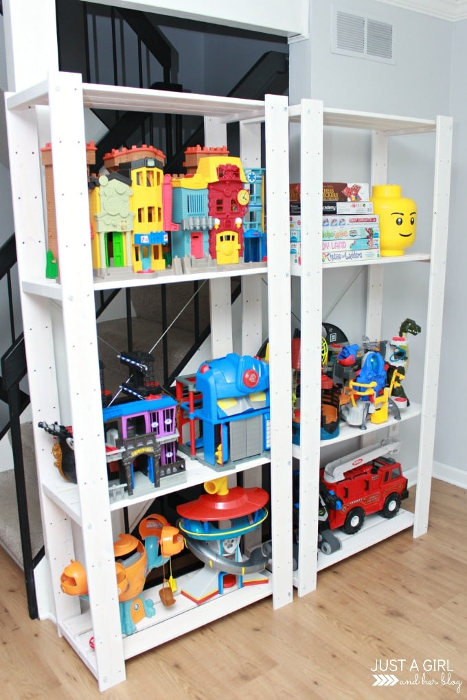 A storage solution for big toys and an ikea hack just a girl and her blog - Toy shelves ikea ...