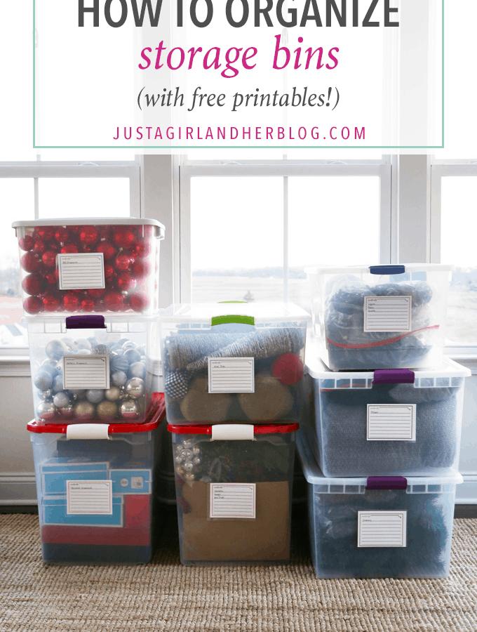 Home Organization, Storage Bins, Organized Bins, Free Printables, Organized Decorations, Christmas Decorations, Organized Holiday Decor