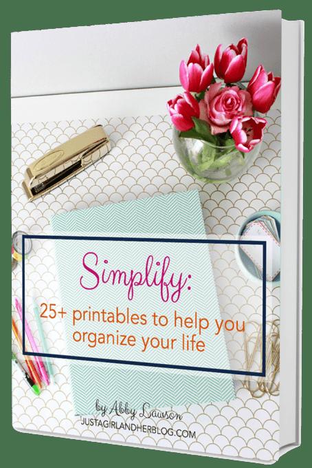 Simplify: 25 Printables to Help You Organize Your Life | JustAGirlAndHerBlog.com/organize