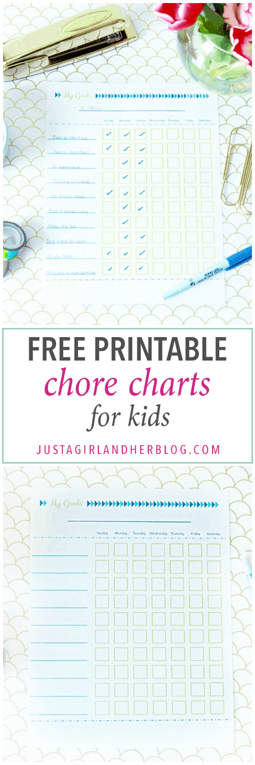 Organization- Chore charts for kids, free printable download, organized, summer organization, organized kids, summer goals, goal charts