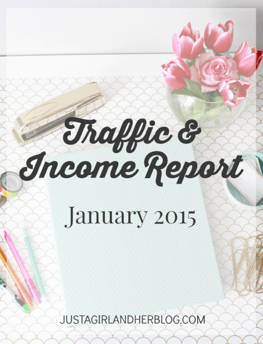 Traffic & Income Report- January 2015, JustAGirlAndHerBlog.com