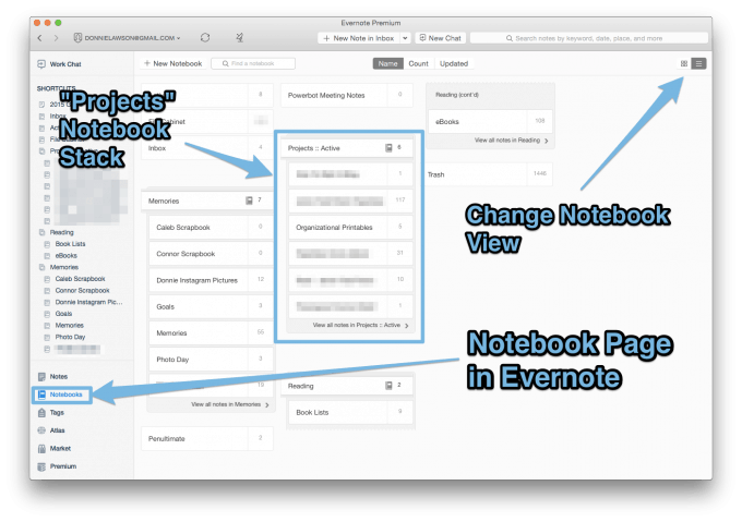 notebook view in evernote