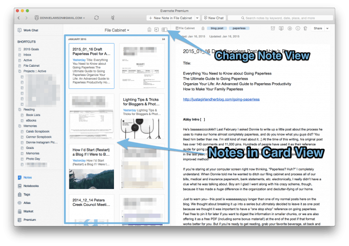 notes in evernote