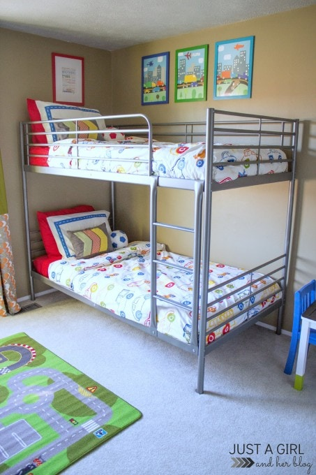 A Shared Boys' Bedroom | JustAGirlAndHerBlog.com