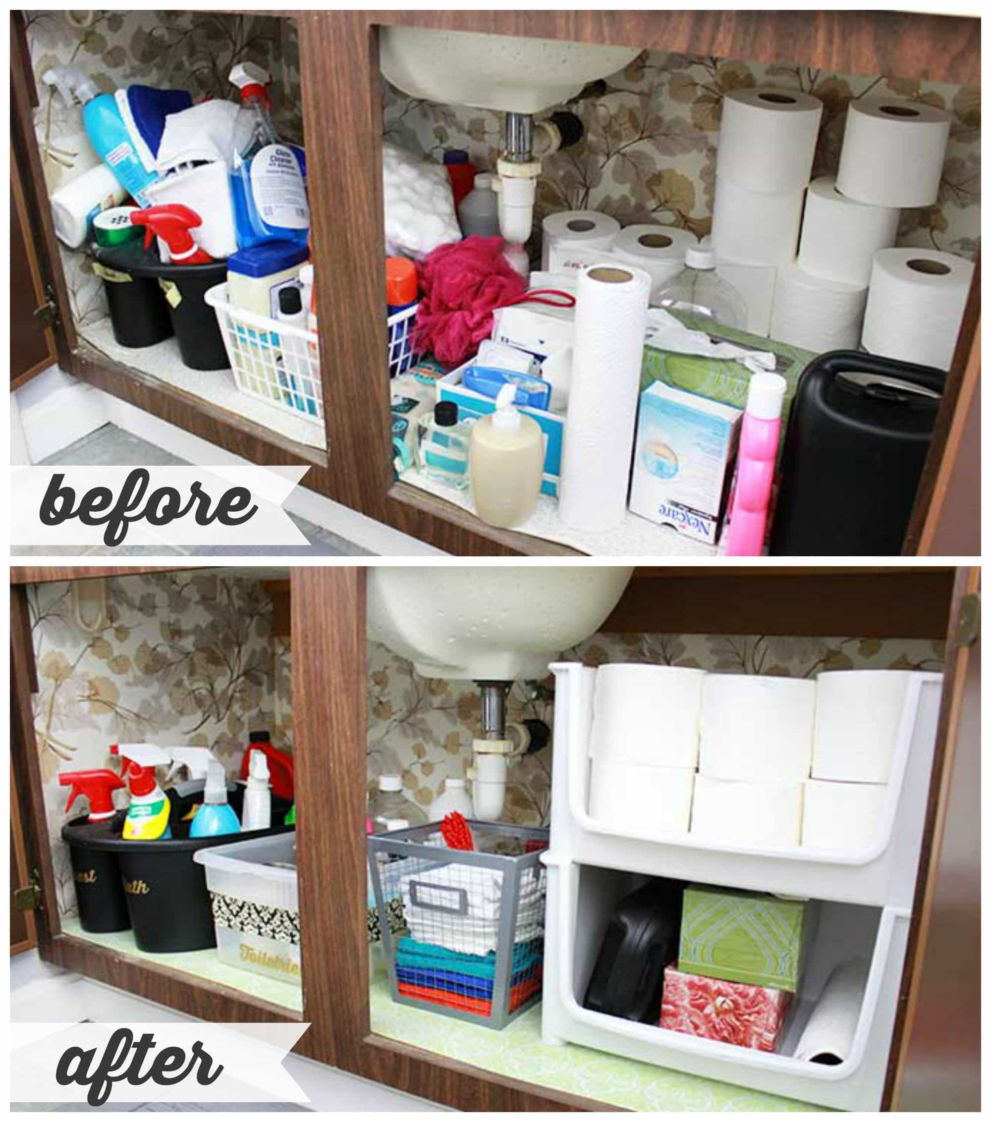 Bathroom cabinet organizers - High Low Bathroom Cabinet Organization Justagirlandherblog Com