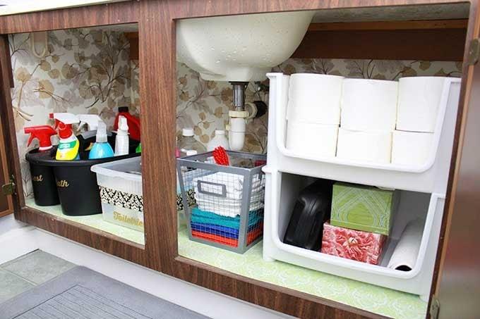 High/Low Bathroom Cabinet Organization | JustAGirlAndHerBlog.com