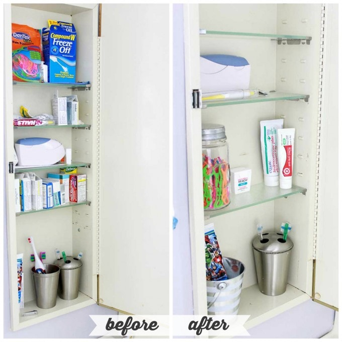 High/Low Bathroom Cabinet Organization | JustAGirlAndHerBlog.com