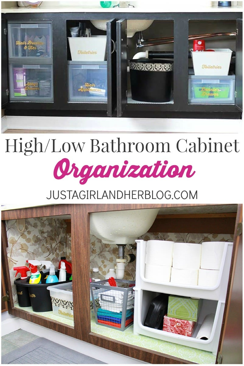 high low bathroom cabinet organization just a girl and her blog