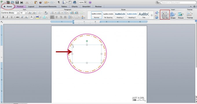how to draw a box around text in word