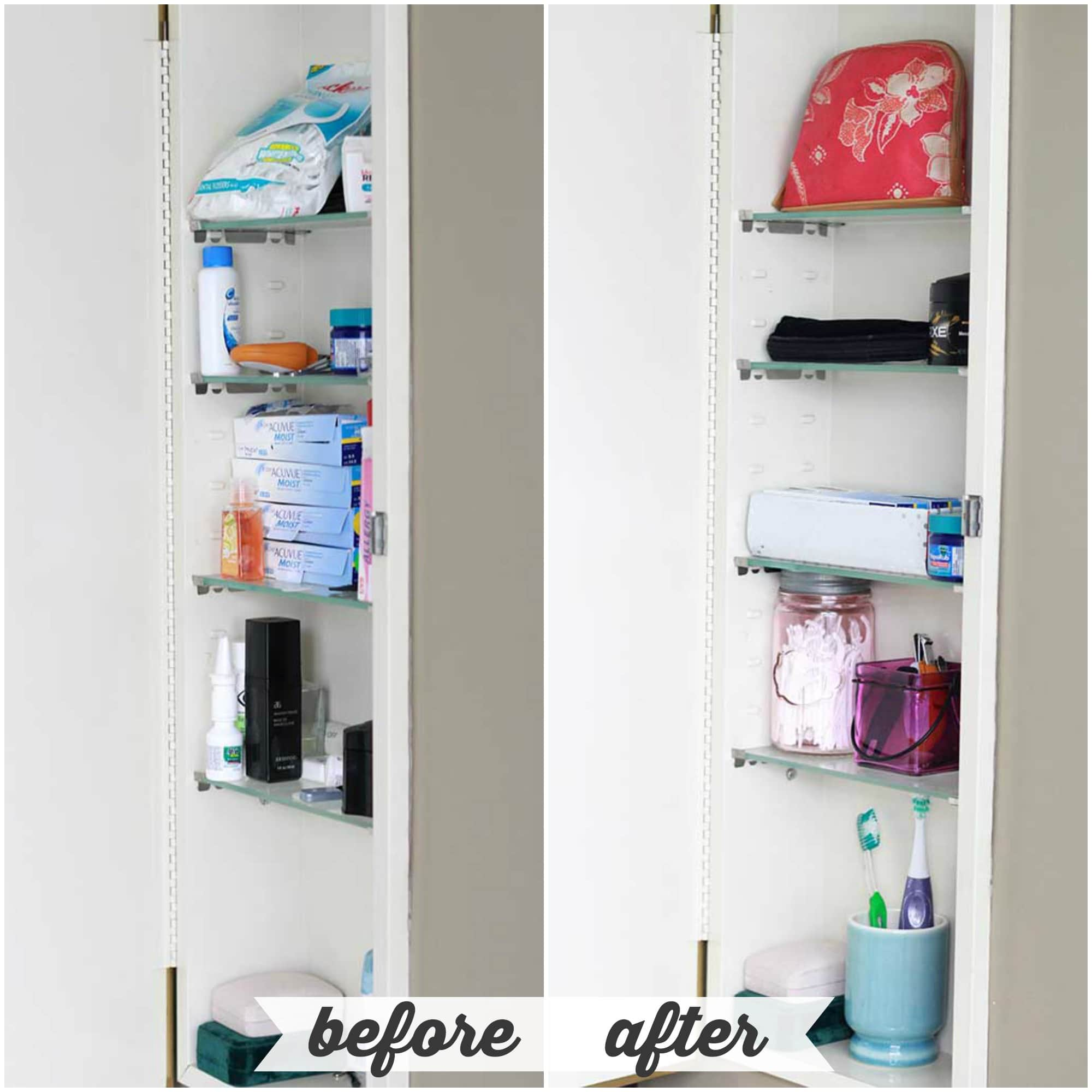 High/Low Bathroom Cabinet Organization - Just a Girl and Her Blog