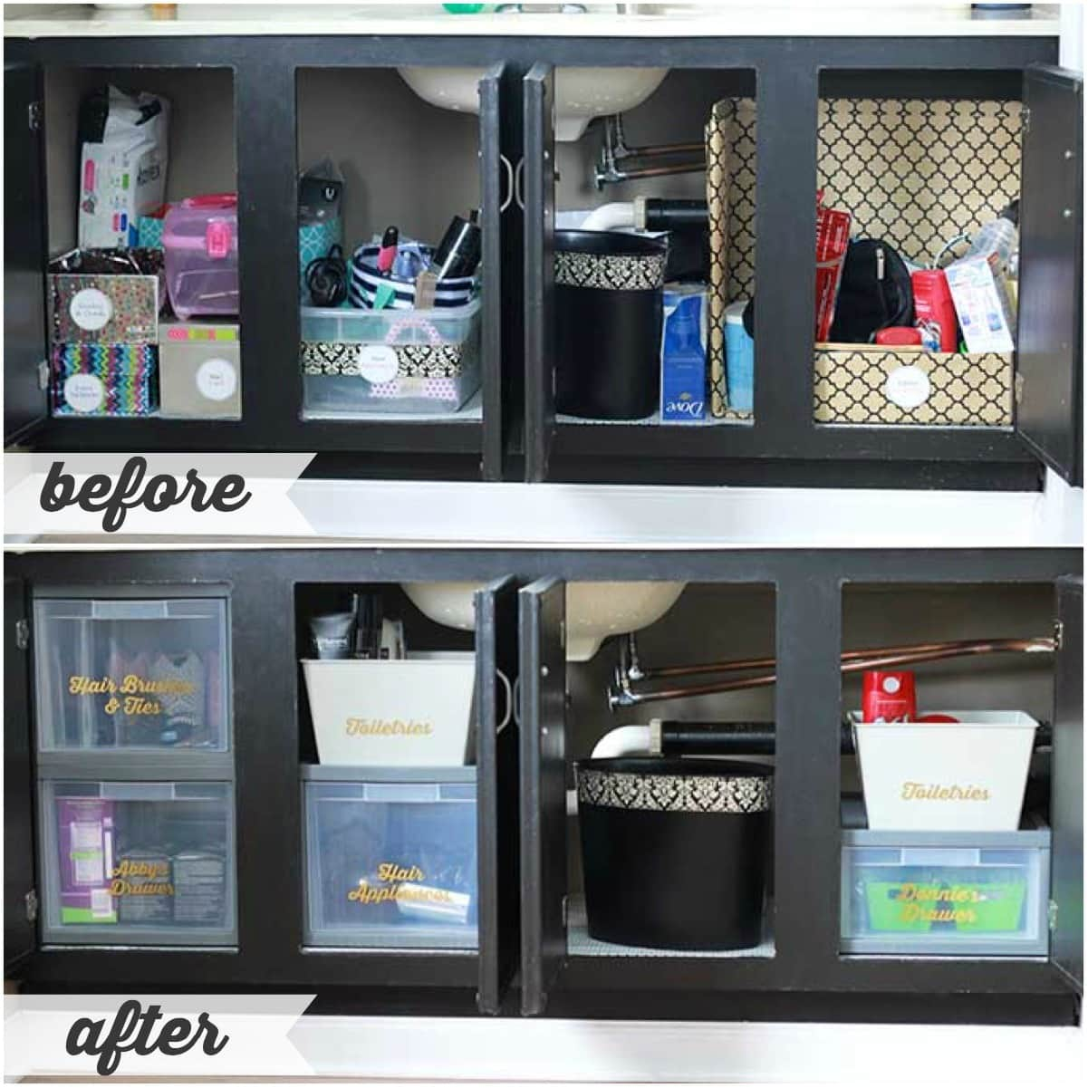 A Perfectly Organized Mudroom Just A Girl And Her Blog: High/Low Bathroom Cabinet Organization
