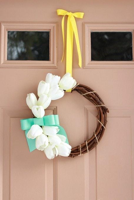 A Sweet and Simple Spring Wreath   JustAGirlAndHerBlog.com
