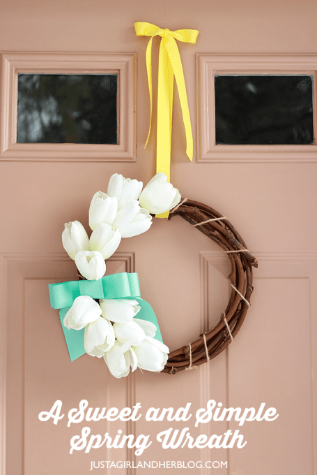 image about Justagirlandherblog identified as A Cute and Very simple Spring Wreath Abby Lawson