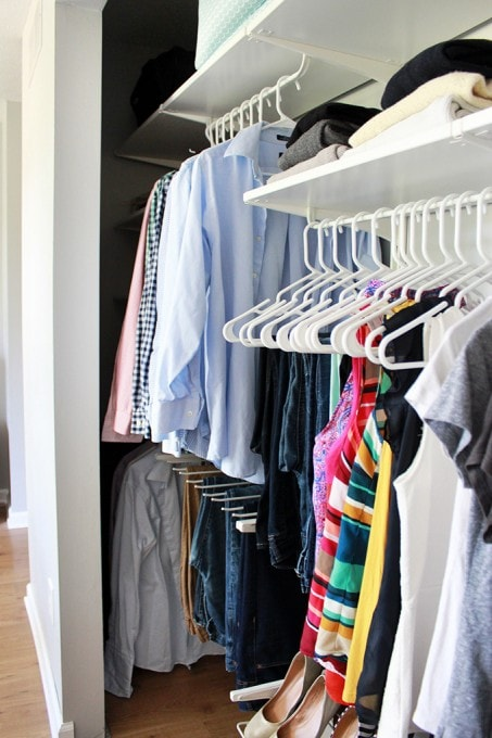 Love how they really maximized space in this small master closet! It doesn't even look cluttered! I need to try this!