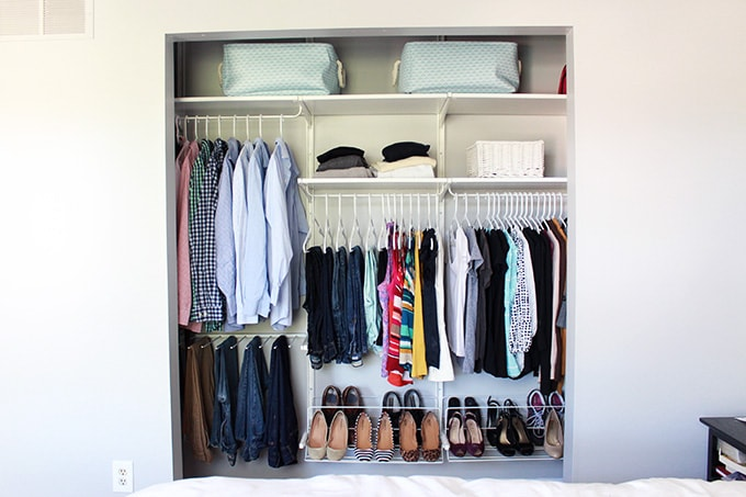 I love how they really made the most of this small closet  Great ideas for. How to Organize a Small Closet   Just a Girl and Her Blog