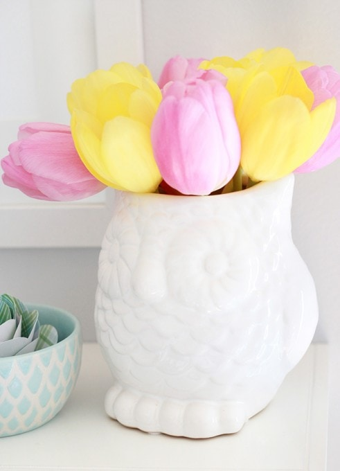 Spring Shelf Decor | JustAGirlAndHerBlog.com