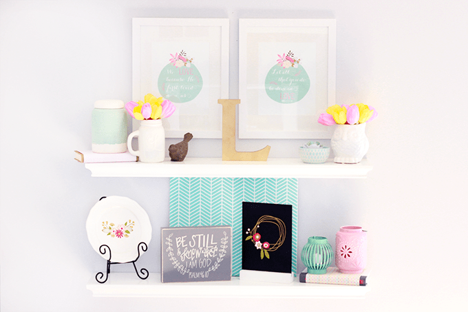 spring shelf decor just a girl and her blog