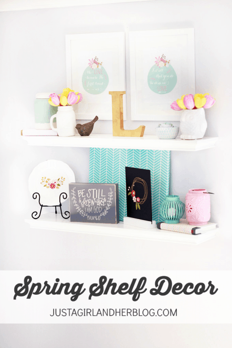 graphic about Justagirlandherblog known as Spring Shelf Decor Abby Lawson