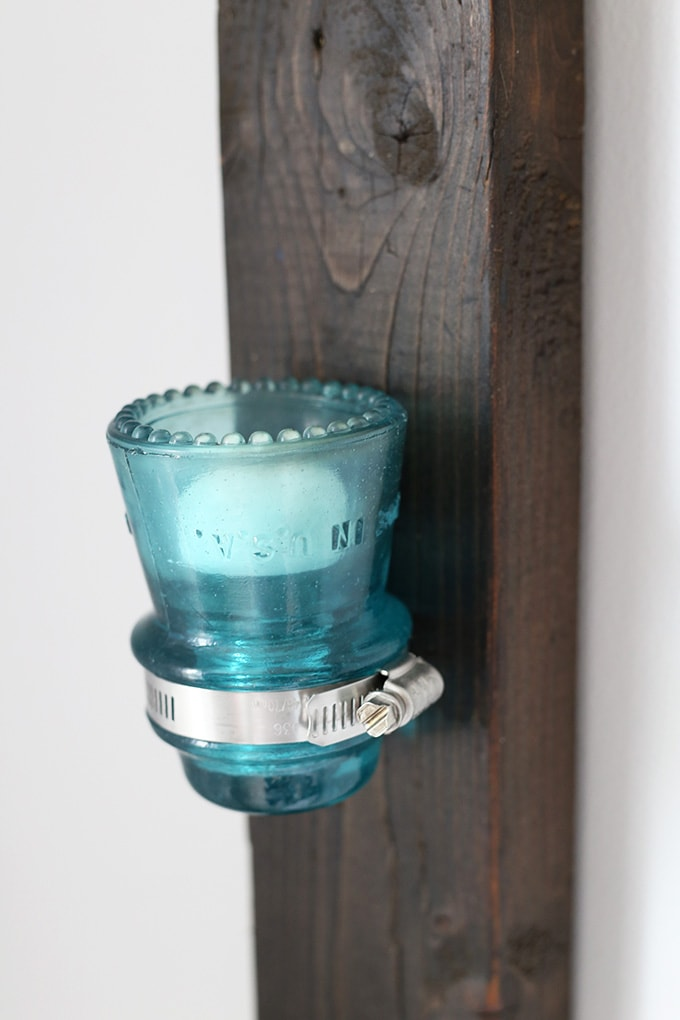 Insulator to candle holder upcycle just a girl and her blog for Insulator candle holder