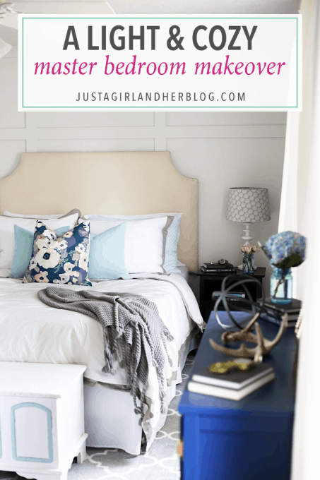 Love this light, cozy master bedroom! Click through to the post to see the full reveal!