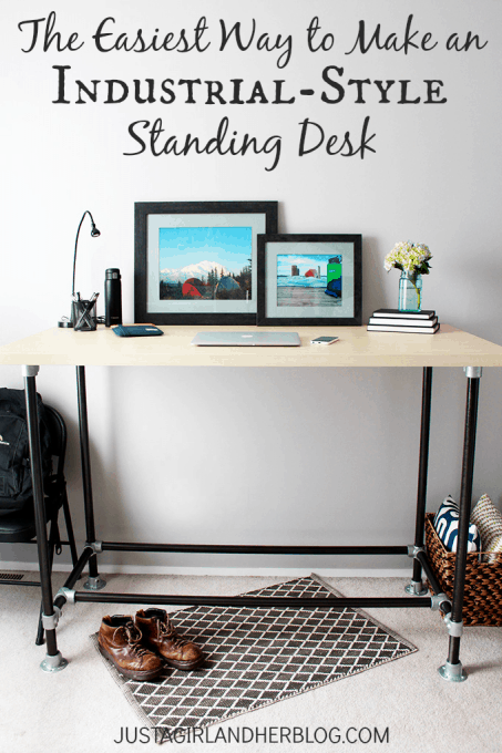 The Easiest Way to Make an Industrial-Style Standing Desk | Just a Girl and Her Blog