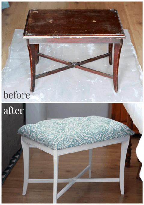 DIY Tufted Bench | Just a Girl and Her Blog