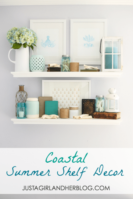 Coastal Summer Shelf Decor at JustAGirlAndHerBlog.com