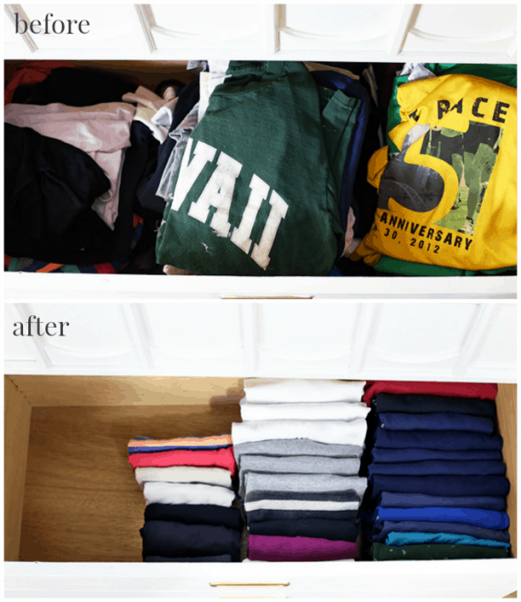 The KonMari Method Organizing Clothes Just A Girl And Her Blog - Simple trick changes everything knew packing t shirts just brilliant