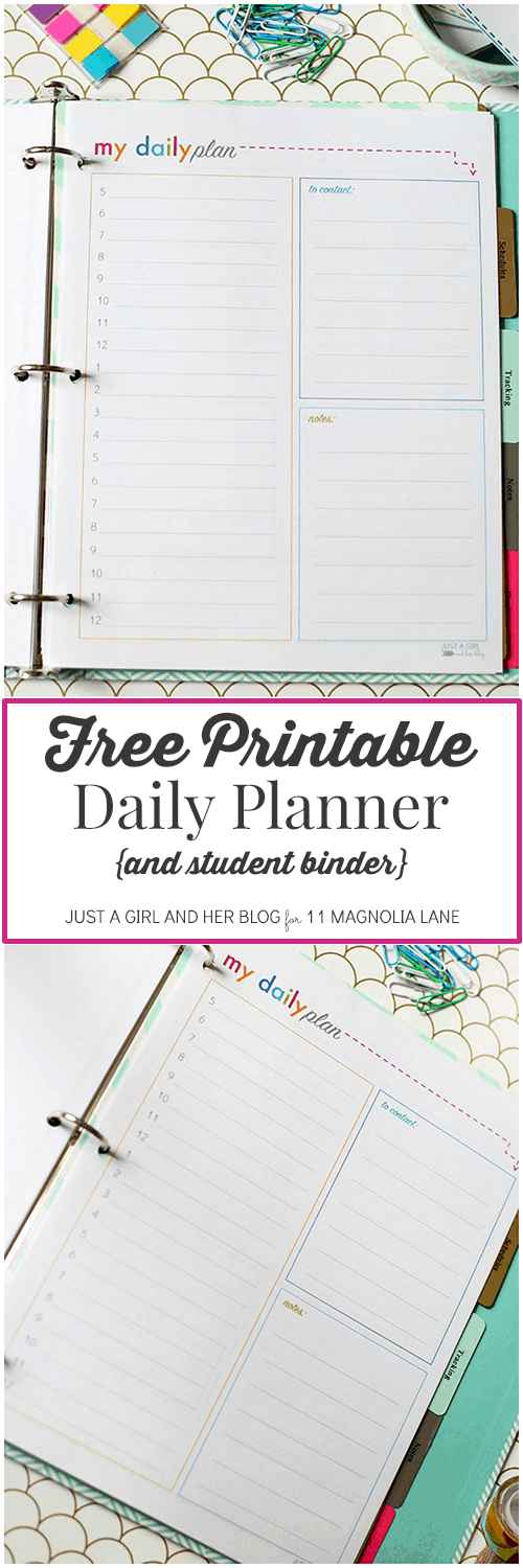 operation organization printable daily student planner 11