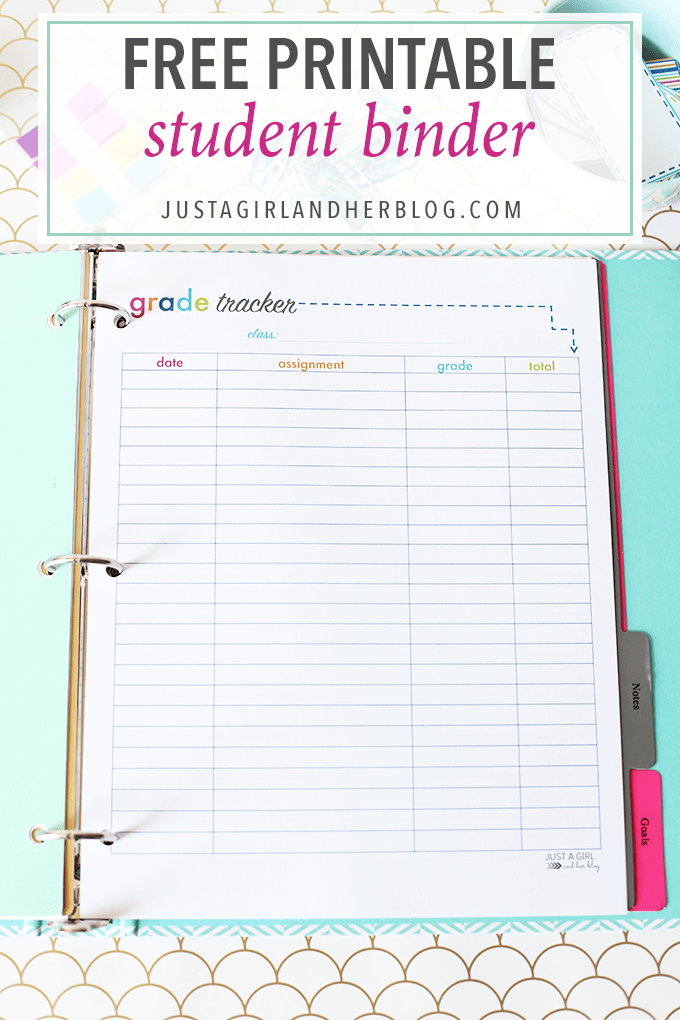 Printable Student Binder - Just a Girl and Her Blog