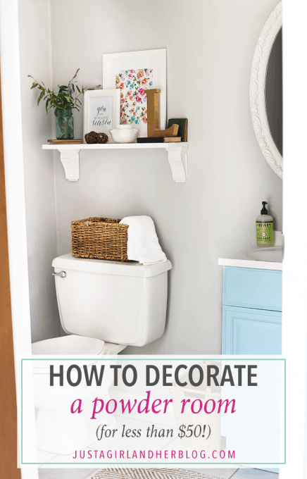 how to decorate a powder room for less than 50 just a girl and her