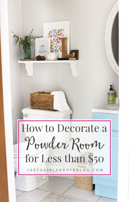 How to Decorate a Powder Room for Less than $50 | JustAGirlAndHerBlog.com