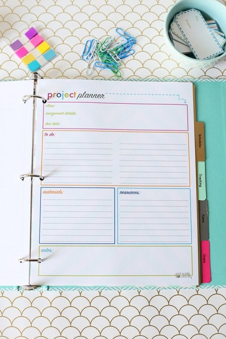 This amazing free printable student binder includes planning sheets ...