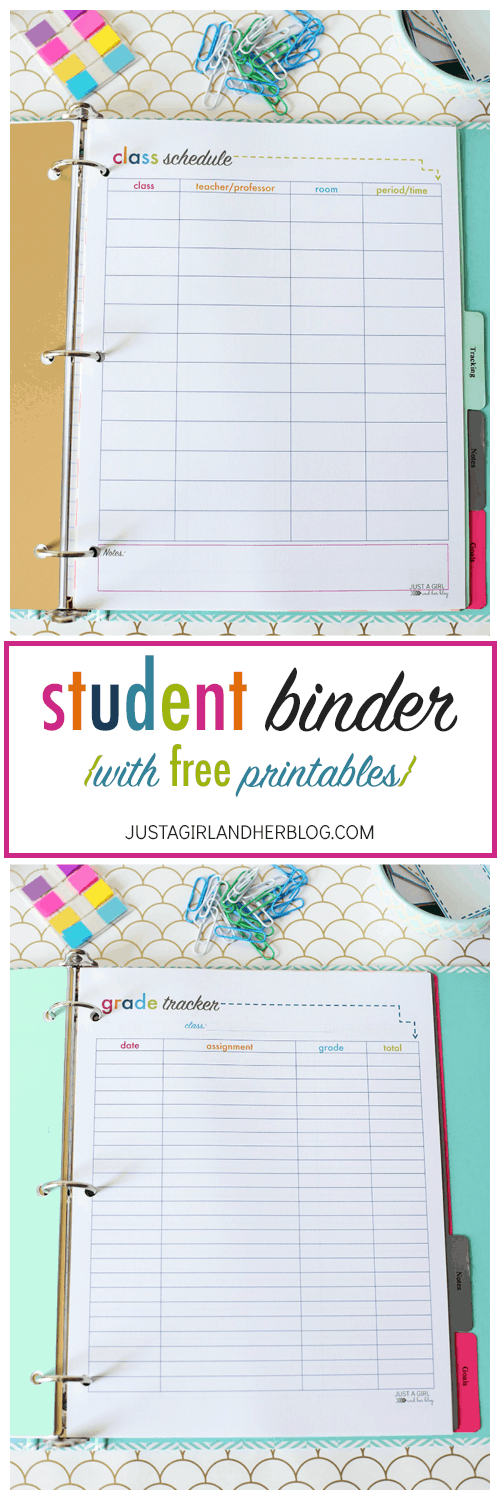 image about Grade Tracker Printable called Pupil Binder for Back again-towards-Faculty (with No cost Printables!)