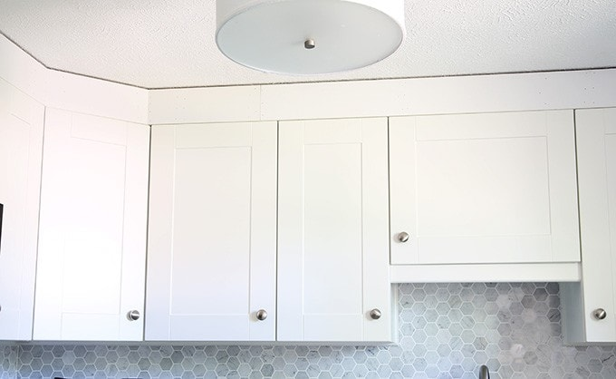 big photo frame ideas - How to Add Crown Molding to Kitchen Cabinets Just a Girl