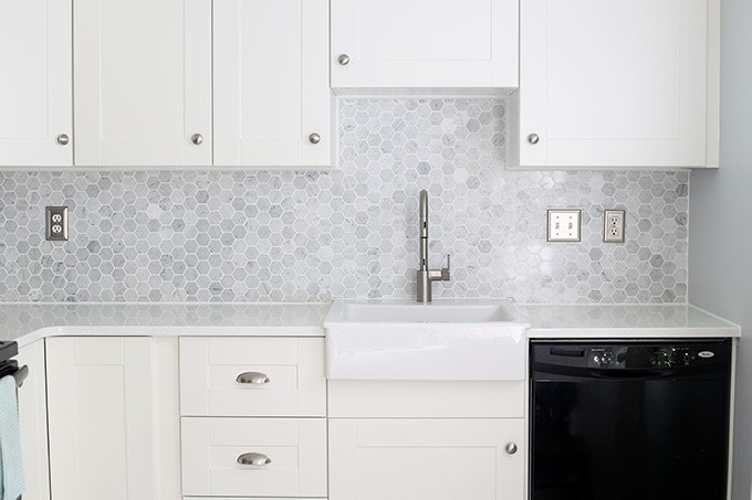 How to Install a Marble Hexagon Tile Backsplash - Just a Girl and ...