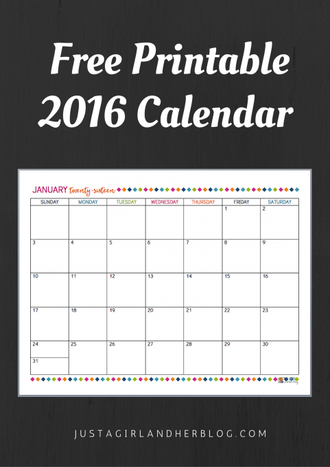 image relating to Justagirlandherblog titled Totally free Printable 2016 Calendar! Abby Lawson