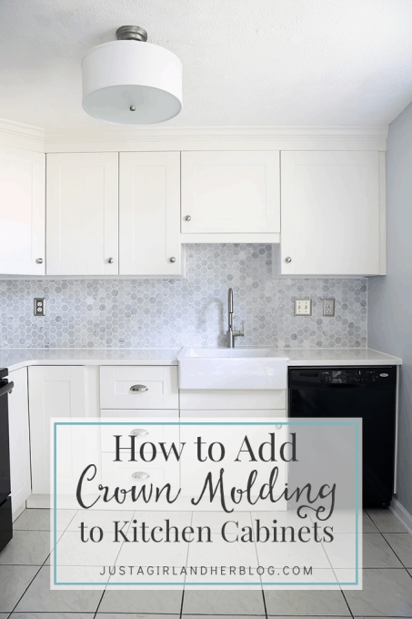 How to Install a Crown Molding to Kitchen Cabinets | JustAGirlAndHerBlog.com