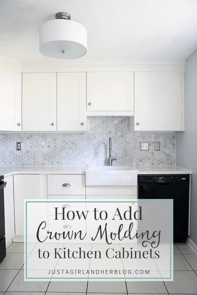 How to add crown molding to kitchen cabinets just a girl for Attaching crown molding to kitchen cabinets