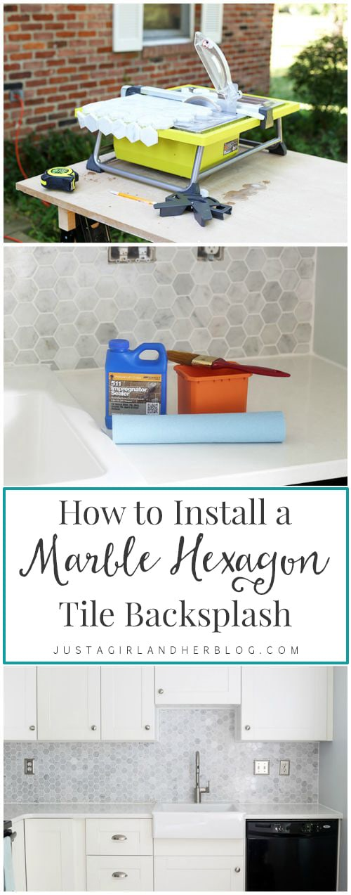 How To Install A Marble Hexagon Tile Backsplash Just A Girl And